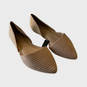 Torrid Silver Studded Tan D Orsay Pointed Flats 9.5 NEW